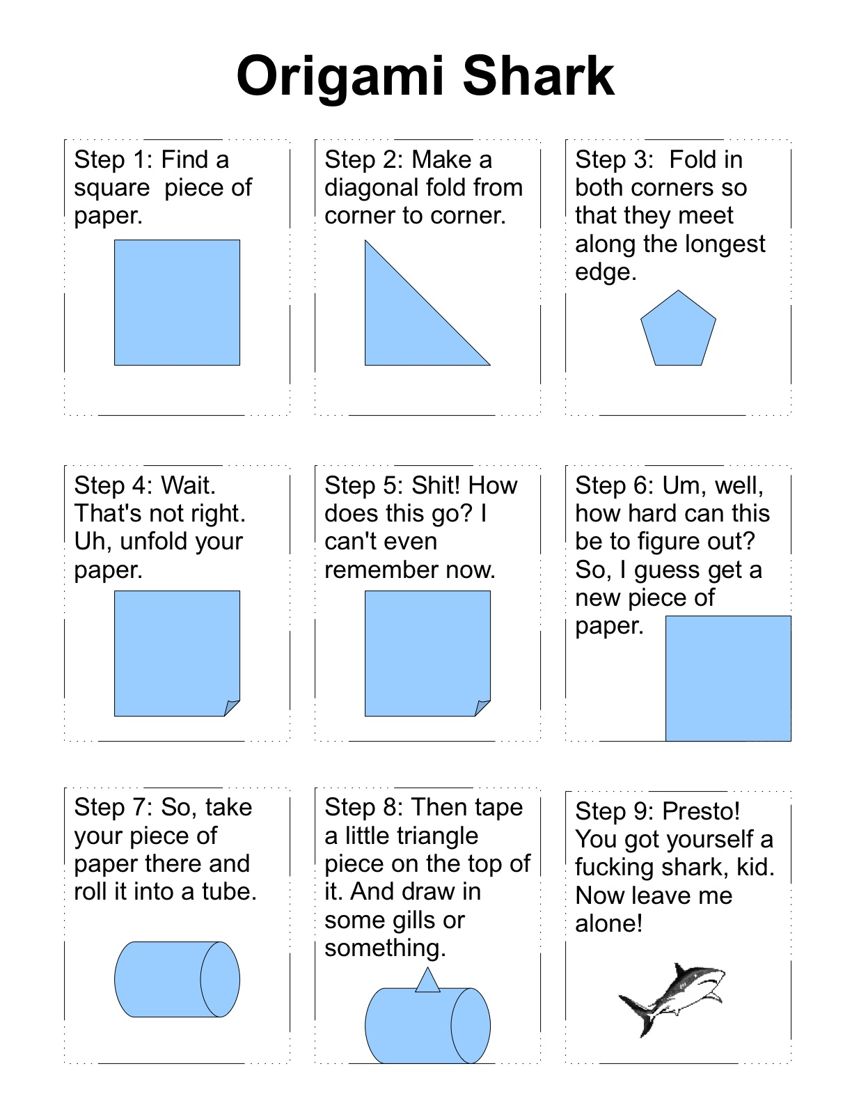 shark origami instructions